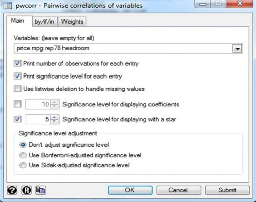 selection of different options for correlation analysis in STATA