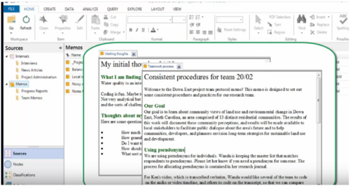 Nvivo's interface also provide the Memos feature