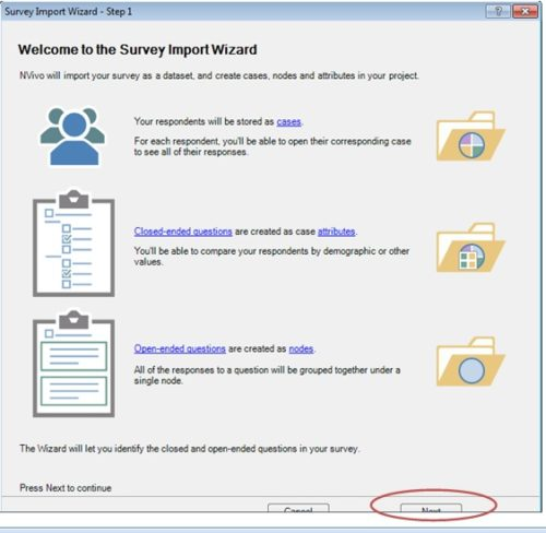 importing excel sheet through survey import wizard in Nvivo