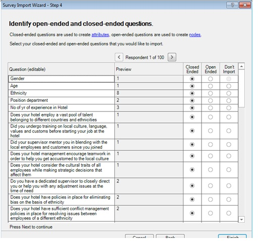 using survey import wizard to import data in Nvivo