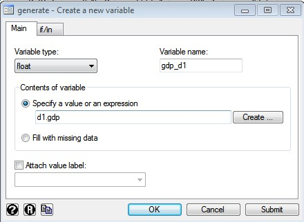 Figure 1: Dialogue box for Creating New Variable