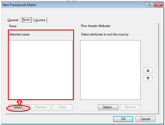 Step 2 of creating New Framework Matrices in Nvivo