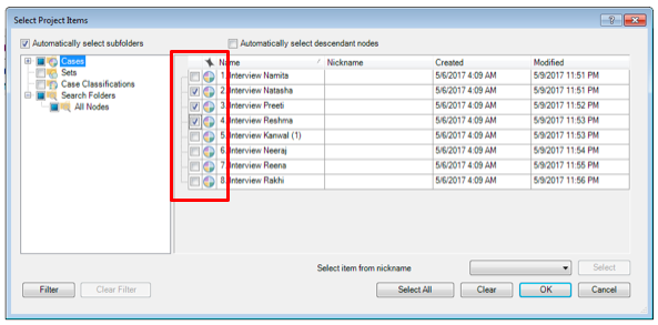 Figure 5 Select Project Items for Framework Matrices in Nvivo