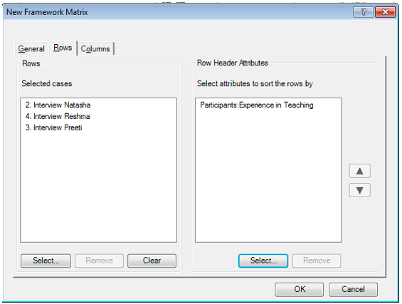 Figure 8 Assigned Rows and Rows Header in Framework Matrices