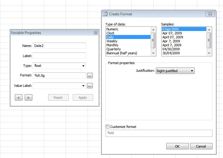 Figure 11: Formatting option in 'Variable Manager' of 'Data Editor' window