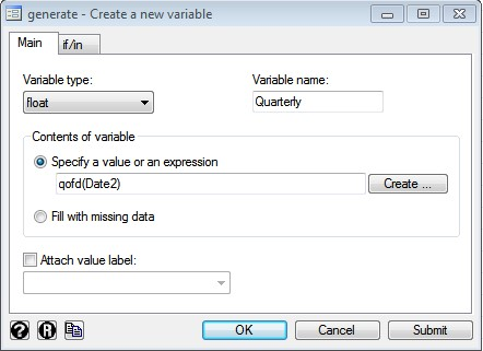 Figure 13: Creating new variable in STATA