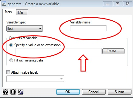 Figure 4: Creating a new variable in STATA