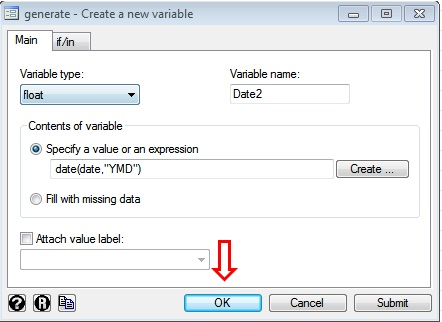 Figure 7: 'New Variable' window of STATA