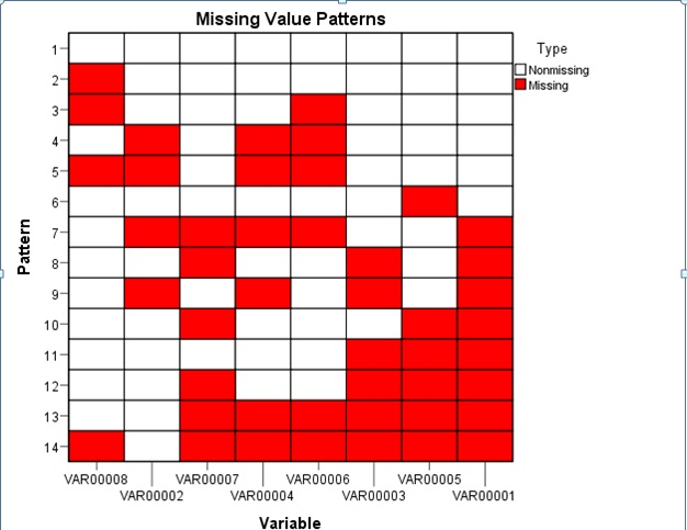 Figure 1: Missing Data Pattern in SPSS