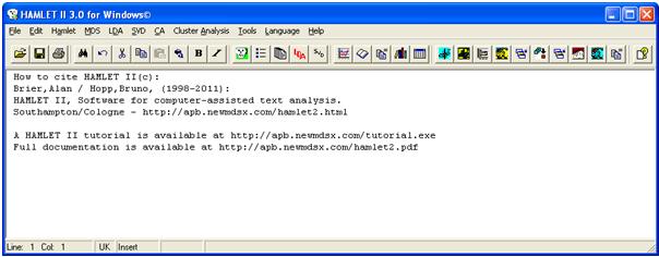 HAMLET II for windows interface
