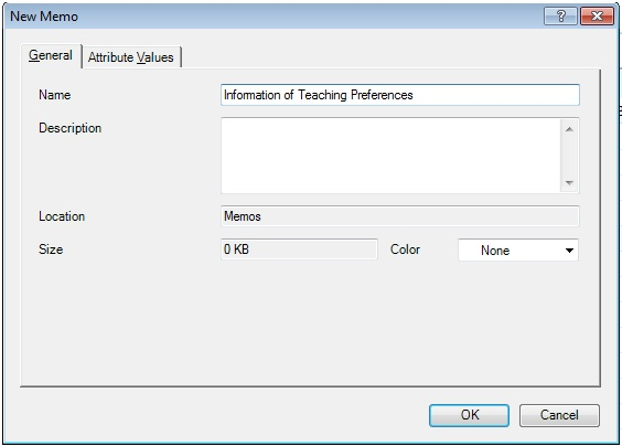 Figure 13: Creating a direct linking memo on Nvivo