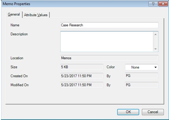 Figure 3: 'Memo properties' folder