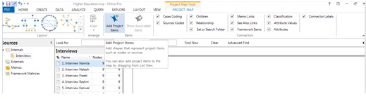 Figure 13: To add items in project map
