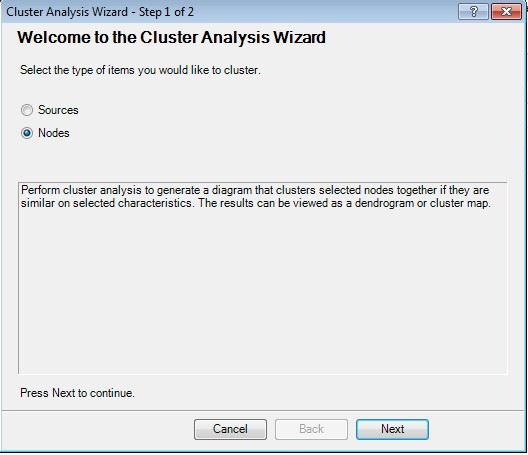 Figure 1: Step 1 for performing cluster analysis