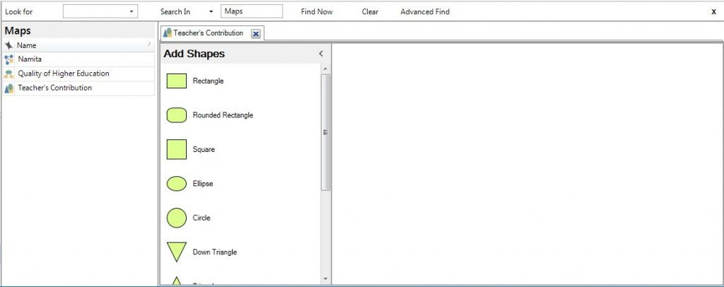 Figure 2: An empty canvas of concepts map in Nvivo