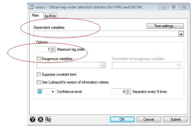 Figure 2: Varsoc window in STATA for lag selection