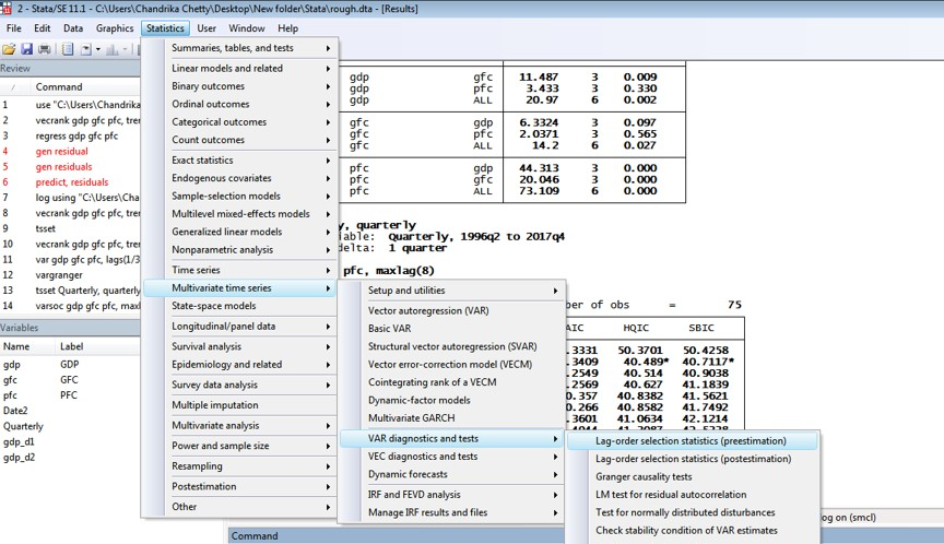 Figure 1: Steps for lag selection parameters to perform cointegration test in VAR using two variables in STATA