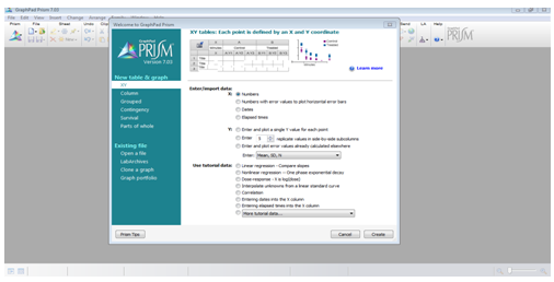 Image of the basic interface of the Graphpad Prism