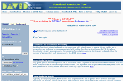 Functional Annotation tool page