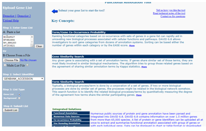 Functional Annotation page after entering the gene list