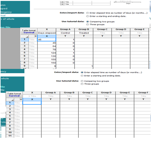 Datasheets from different models of survival data table