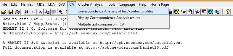 Figure 1: Step 1 of correspondence analysis using Hamlet II