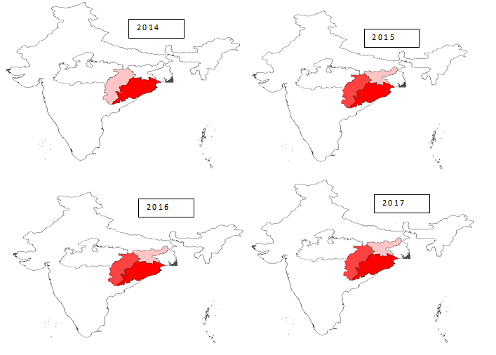 Prevalence of Plasmodium falciparum in four states of India from year 2014-2017